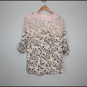 Calvin Klein Snake Print Ombre Tab Sleeve Top sz L